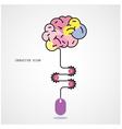 Creative brain idea and computer mouse vector image