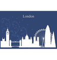 London city skyline silhouette on blue background vector image