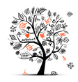 autumn tree sketch vector image