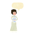 cartoon shocked victorian woman with speech bubble vector image