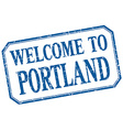 Portland - welcome blue vintage isolated label vector image