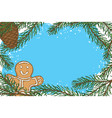 frame with fir branch pine cone and gingerbread vector image