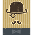 Gentlement with mustache and hat on vintage card vector image
