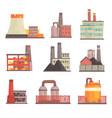 industrial factory buildings set modern power vector image