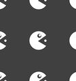 pac man icon sign Seamless pattern on a gray vector image