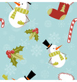 Seamless pattern with Christmas snowman vector image