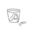 sketch of the denture in glass and pills vector image