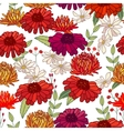 Seamless autumn pattern with asters and gerberas vector image