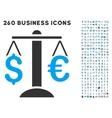 Euro Dollar Balance Icon with Flat Set vector image