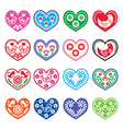 Folk art hearts with flowers and birds icons set vector image