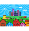 Big city and suburbs vector image