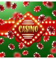Casino sign with background of poker chips vector image
