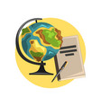 education icon globe book and pointer symbols vector image