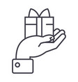hand with gift line icon sign vector image