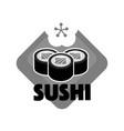 sushi reastaurant promotional monochrome emblem vector image