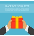 Hand with gift and text vector image