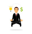 businessman character meditating in lotus pose and vector image