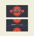Business card template Floral blue and red colors vector image