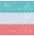 Set of flat line elements vector image vector image