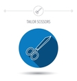 Tailor scissors icon Hairdressing sign vector image