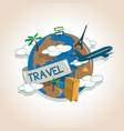 airplane travelling around the globe travel vector image