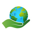 earth symbol in hand vector image