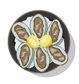 Raw oyster in shell with slice of lemon vector image