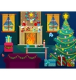 Christmas Home Interior with Christmas Tree vector image