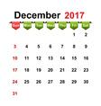 simple calendar 2017 year december month vector image
