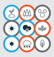 set of 9 world icons includes sun sprout water vector image