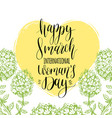 happy womans day hand lettering card vintage vector image