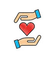hands holding heart health care concept vector image