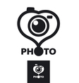 logo in the form of heart for the photographer vector image vector image