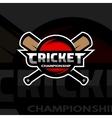 Cricket sports logo ball and bat vector image