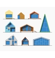 Tiny houses linear 1 color vector image
