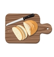 Sliced Bread on Slicing board with knife vector image vector image