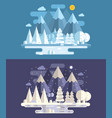 abstract winter landscape by day and night vector image