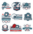 baseball icon templates set of player bat vector image