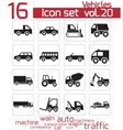 black vehicle icon set vector image