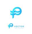 p logo letter p icon initials monogram creative vector image