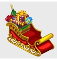 Red sleigh of Santa Claus with gifts and candies vector image