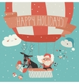 Santa Claus flying in a hot air balloon with vector image