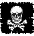 Skull and Crossbones over black flag vector image