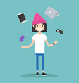 young girl juggling electronic devices editable vector image