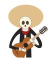 skeleton mariachi icon vector image