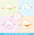 Cute Baby Girl Boy and Twins Design Elements vector image vector image