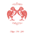 Stylized red roosters vector image vector image