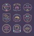 set of vintage bakery logos retro emblems vector image