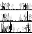 landscapes with silhouettes of cactuses and stones vector image