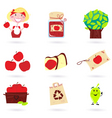 autumn apple icon set vector image vector image